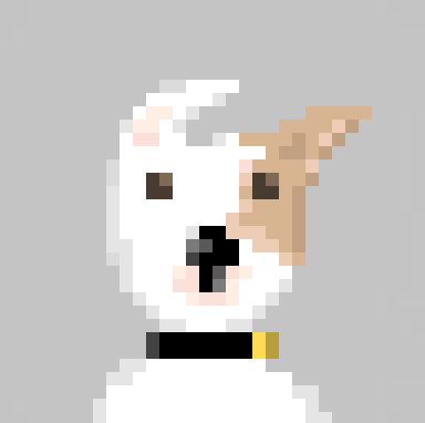 pixel art of little tan and white dog